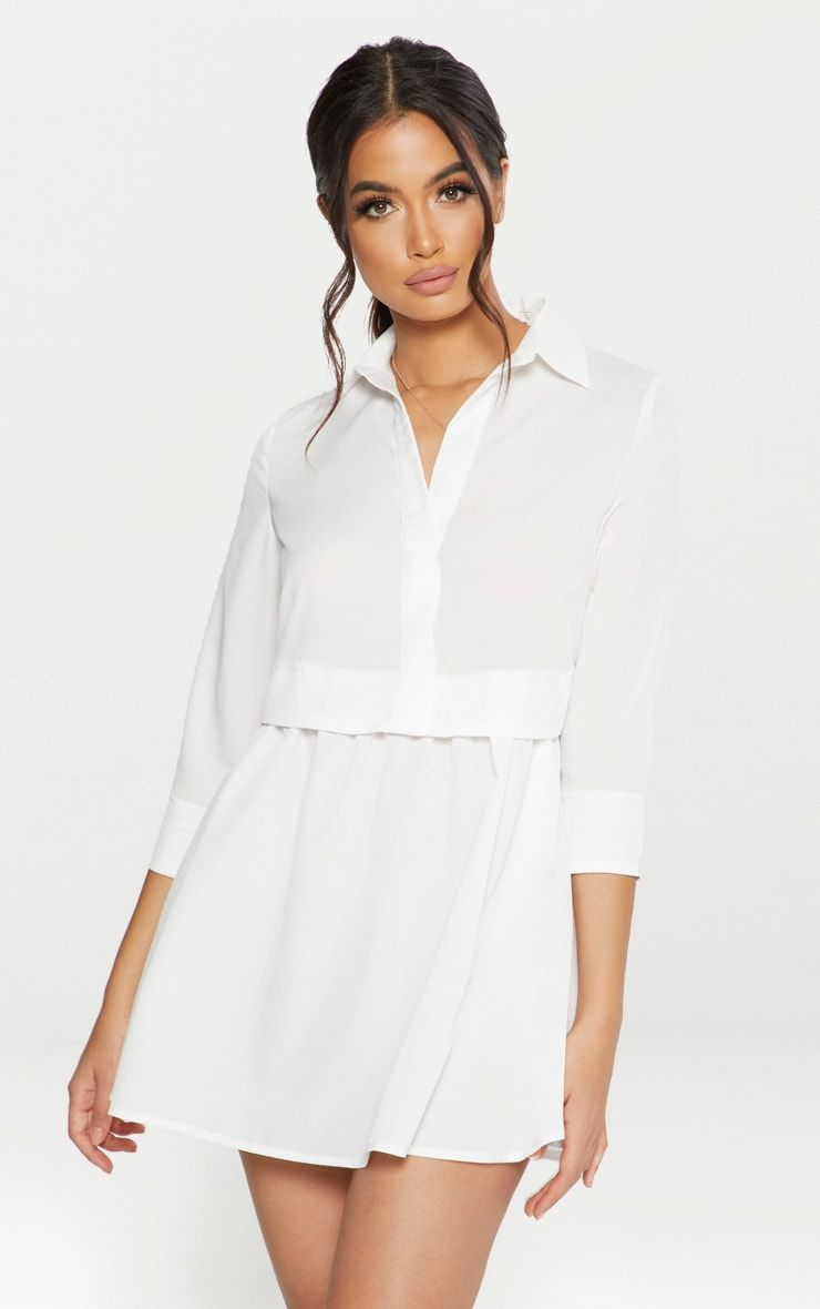 White Layer Shirt Dress Layered Shirts Shirt Dress Women Dress Online [ 1180 x 740 Pixel ]