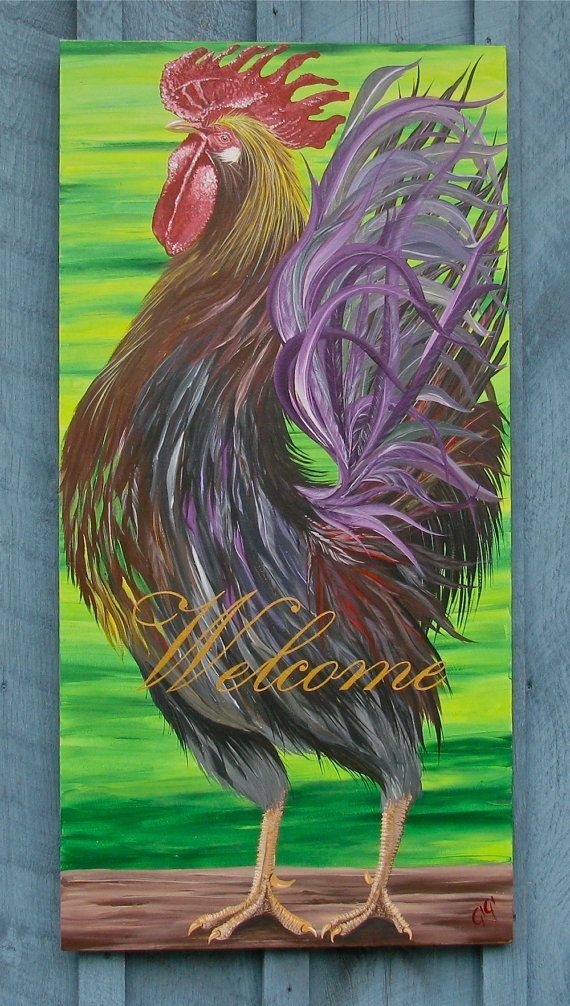 Custom rooster original acrylic on reclaimed rustic solid for Custom acrylic paint