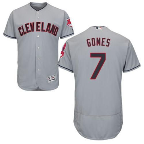 b207b403b Indians #7 Yan Gomes Grey Flexbase Authentic Collection Stitched MLB Jersey
