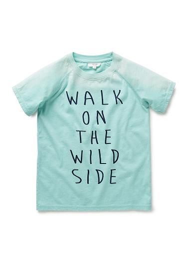 100% Cotton Tee. Pigment dyed, raglan jersey tees. Feature printed slogan on front. Distressed-look spray across shoulder line, and flatlock finishes throughout. Crew neckline, with back neck tape. Regular fit, available in Faded Moss, Sandwash Blue & Soft Aqua.