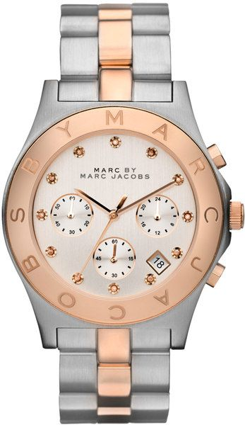 Womens Rose Gold and Silver Chronograph Watch - Lyst