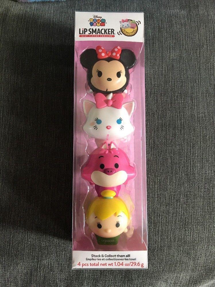 8ab2681bb49 Disney Tsum Tsum Lip Smacker Lip Balm 4 Minnie Mouse Marie Tinkerbell  Cheshire