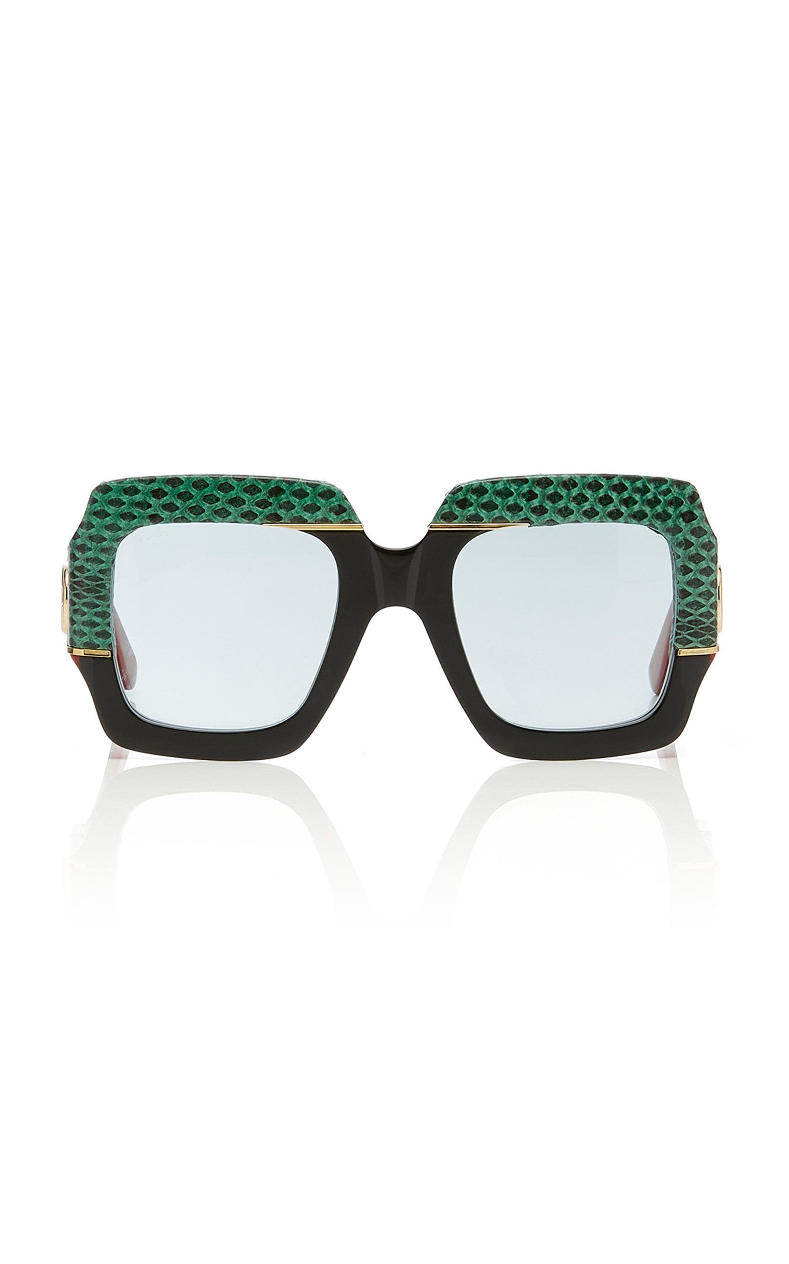13aa0dd7fd982 GUCCI SQUARE-FRAME SNAKESKIN AND ACETATE SUNGLASSES.  gucci