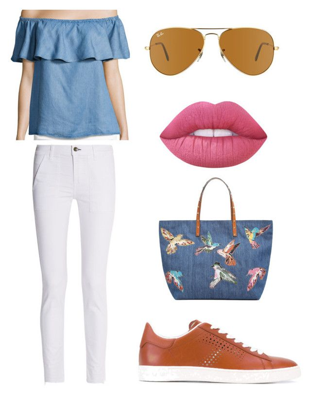 """Casual"" by aleks-stanisavljevic ❤ liked on Polyvore featuring 7 For All Mankind, rag & bone, RED Valentino, Tod's, Lime Crime and Ray-Ban"