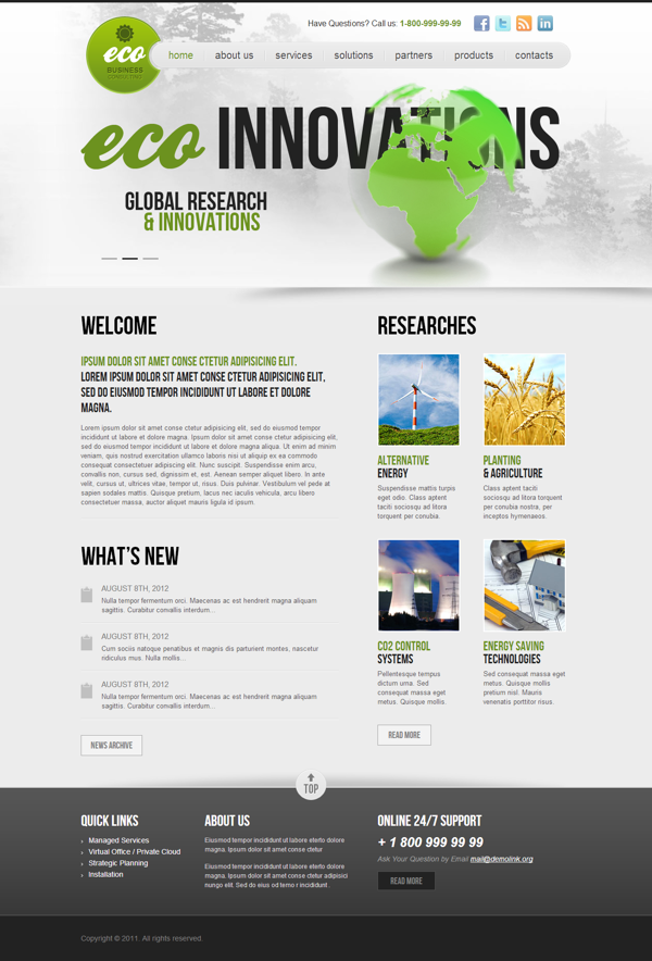 Ecology Business Consult Responsive Wordpress Template by Dynamic ...