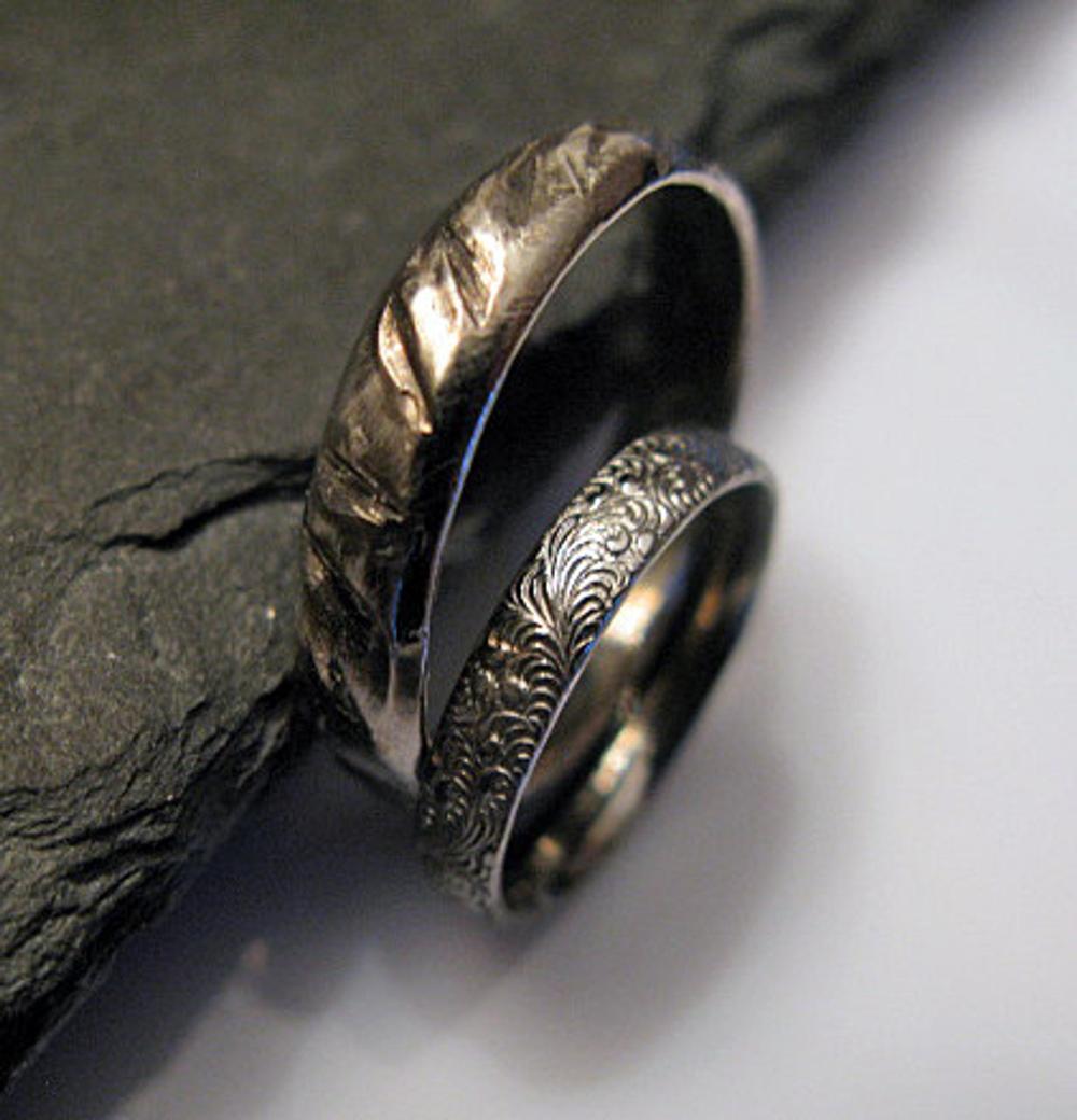 Hand Carved Sterling Silver Black Rhodium Wedding Band Set