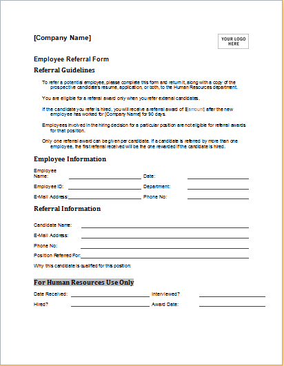 Employee Referral Form Download At HttpWwwDoxhubOrgEmployee