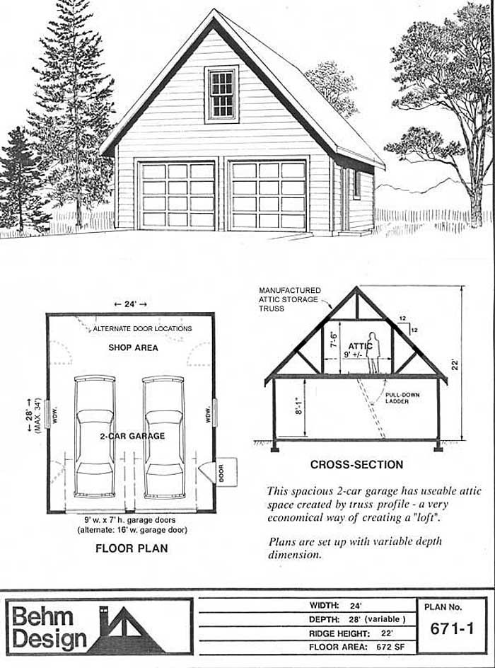 2 car steep roof garage plan with one story 671-1