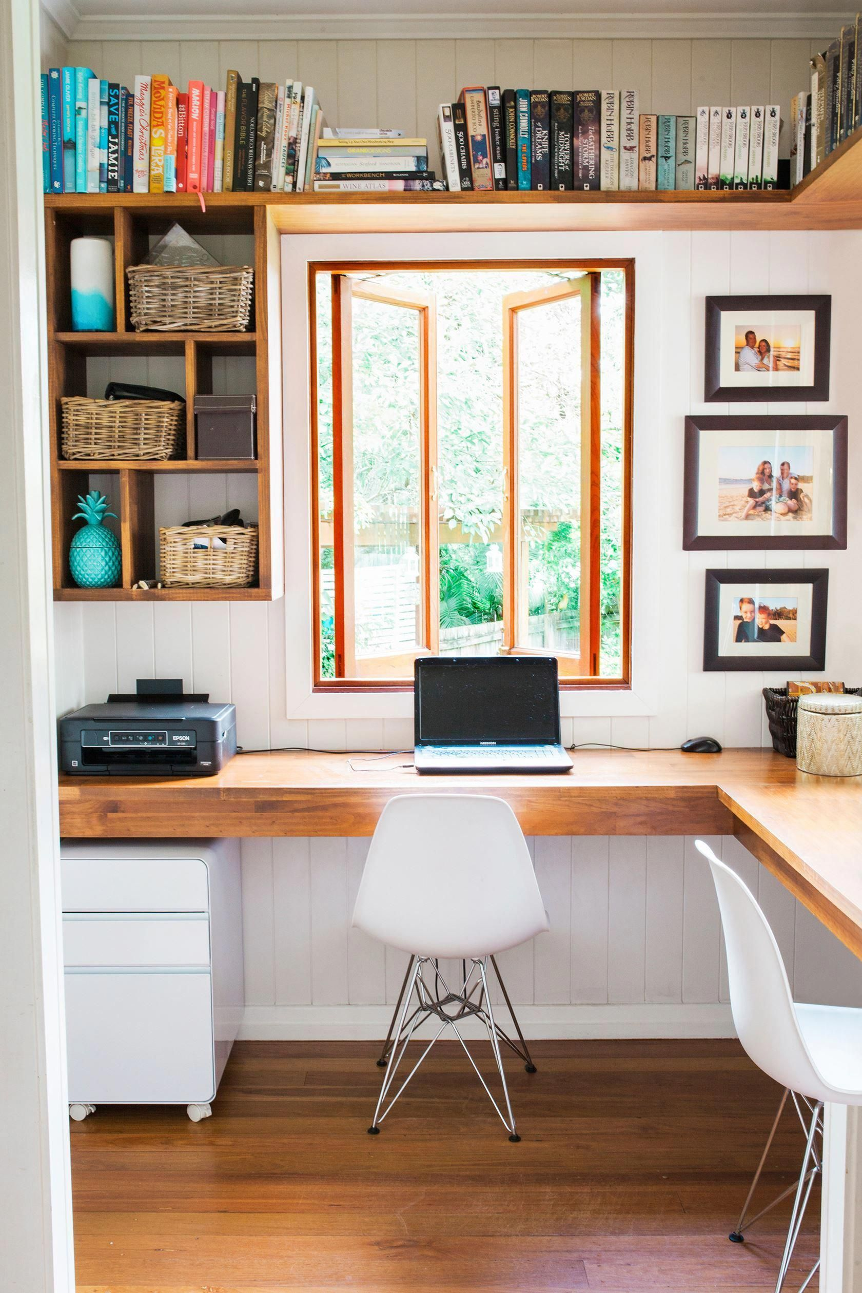 Set A Desk And Chair In Front Of A Window And Fill An Empty Corner With A Tall Bookcase Keep The Home Office Layouts Small Office Design Home Office Furniture