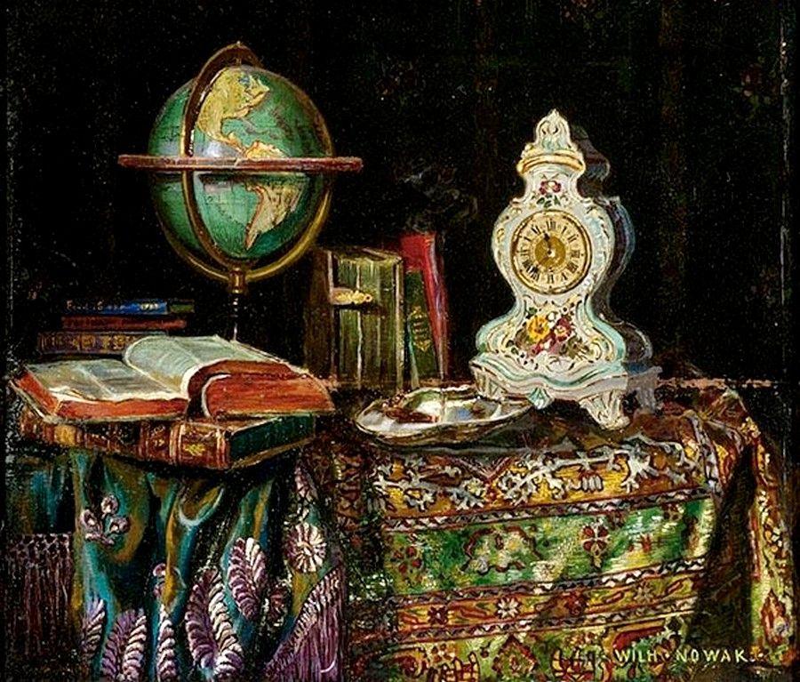 Willi Nowak (18861977) — Still Life with a Globe, a Clock