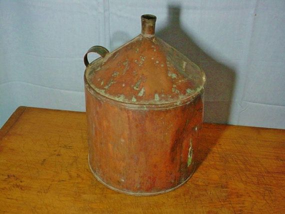 Antique Copper Jug Cone Top Can Older Vintage Still Part by Zarahs