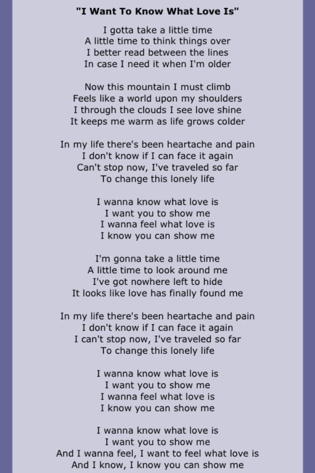 Lyric all i know lyrics : Foreigner~I want to know what love is~lyrics | All Genres ...