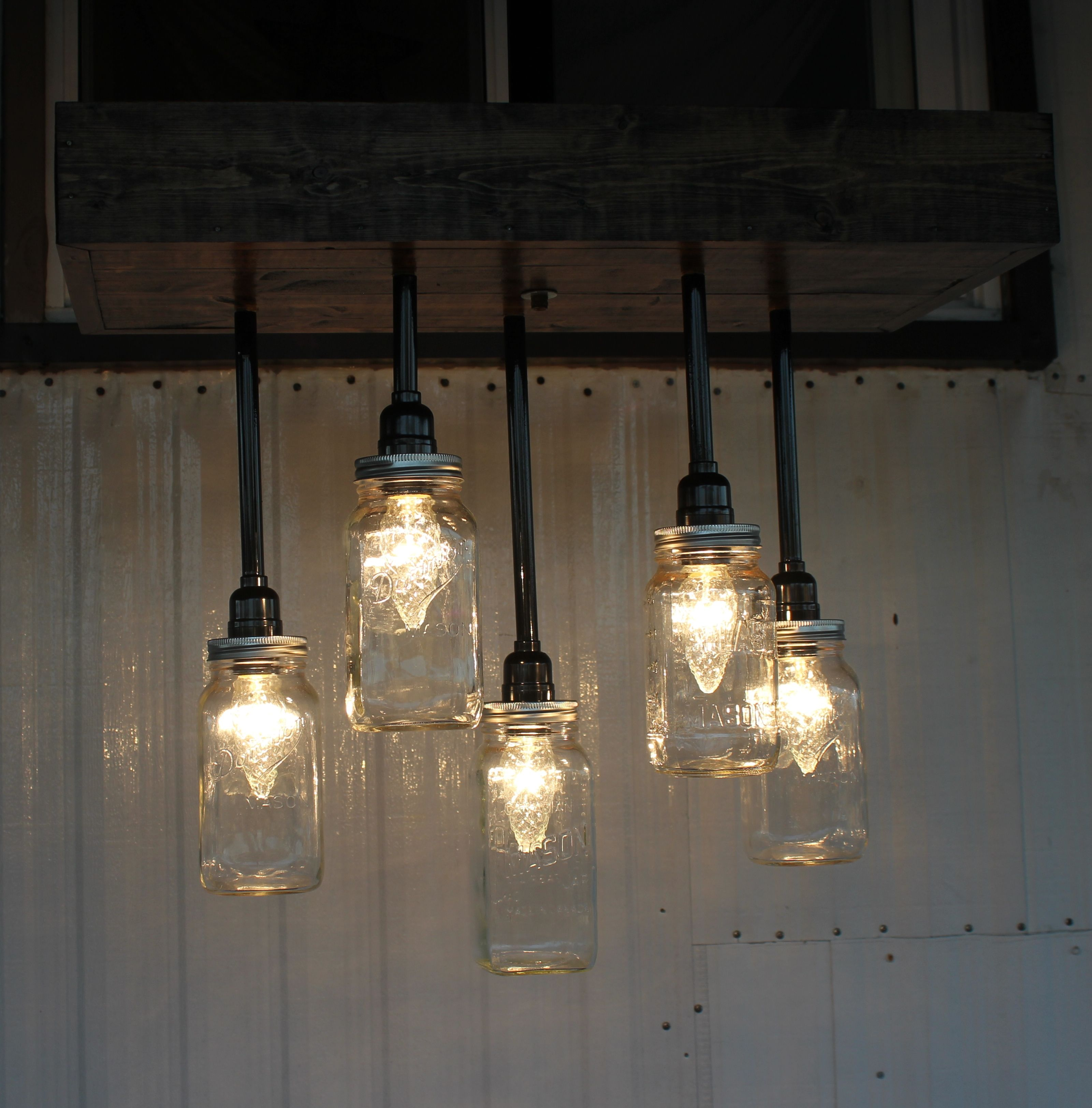 Mason Jar Light Fixture made by Mike | Repurposed | Pinterest