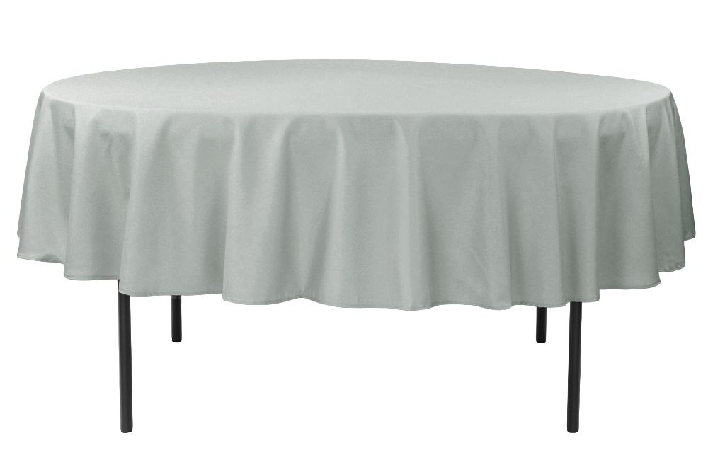 Economy Polyester Tablecloth 90 Round Silver Table Cloth Wholesale Tablecloths Cheap Tablecloths