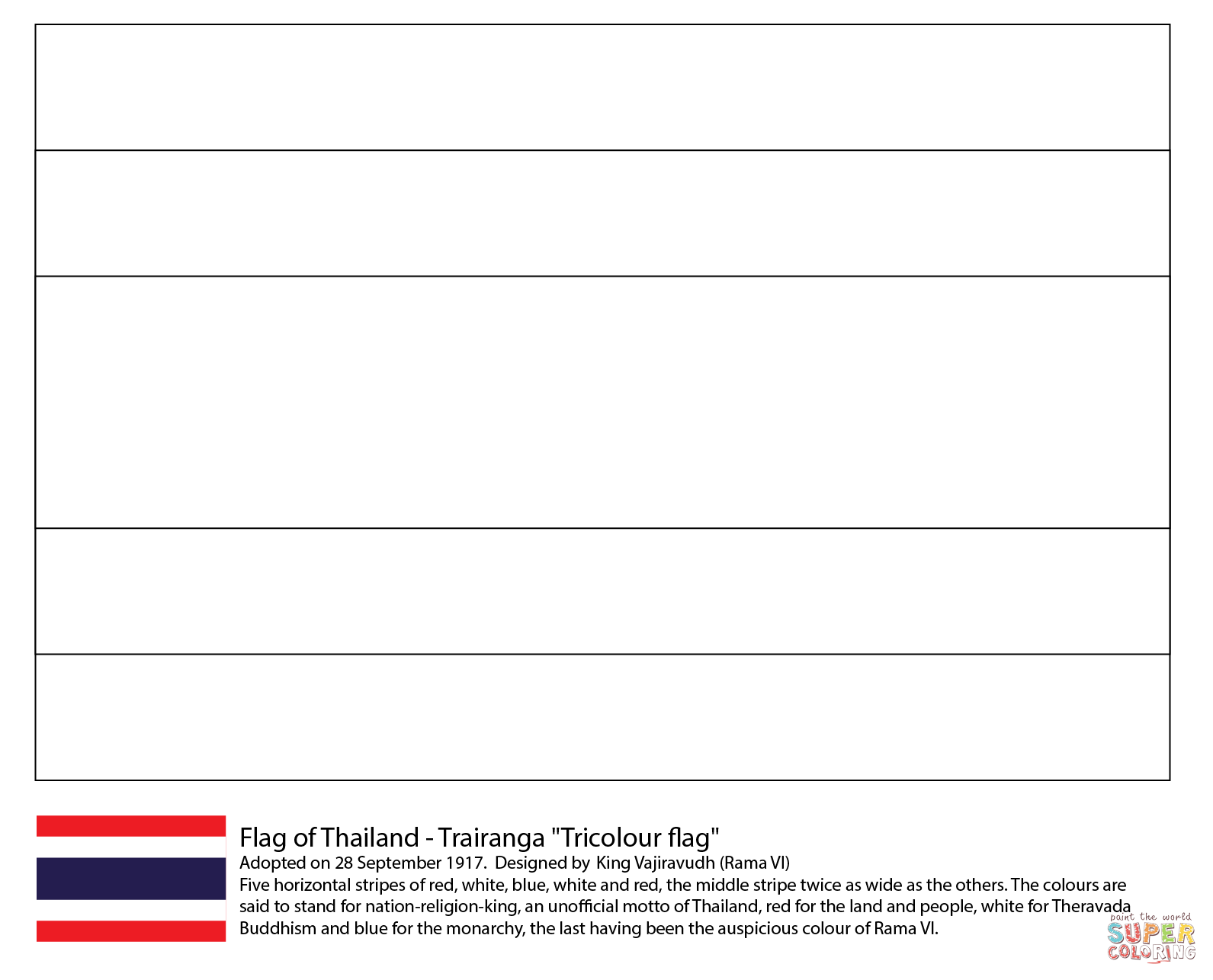 Flag Of Thailand Coloring Page From Asian Flags Category