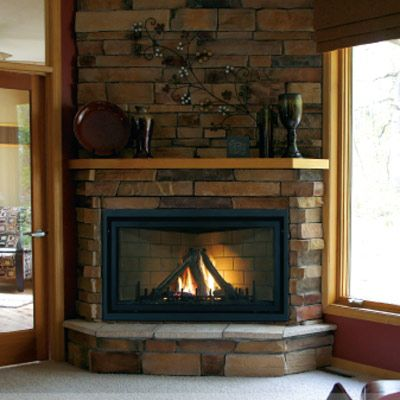 corner gas fireplace in cabinet small cabin | 418 Hunters Lane ...