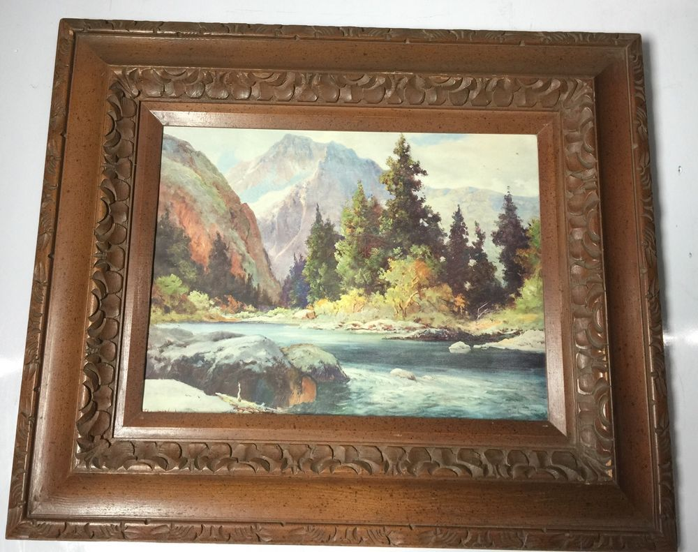 1944 Robert Wood Painting / Print Mountain & Stream River ...  River