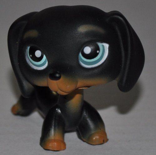 Littlest Pet Shop Black Dachshund Chien Teckel LPS Dog Figure Toy # 325