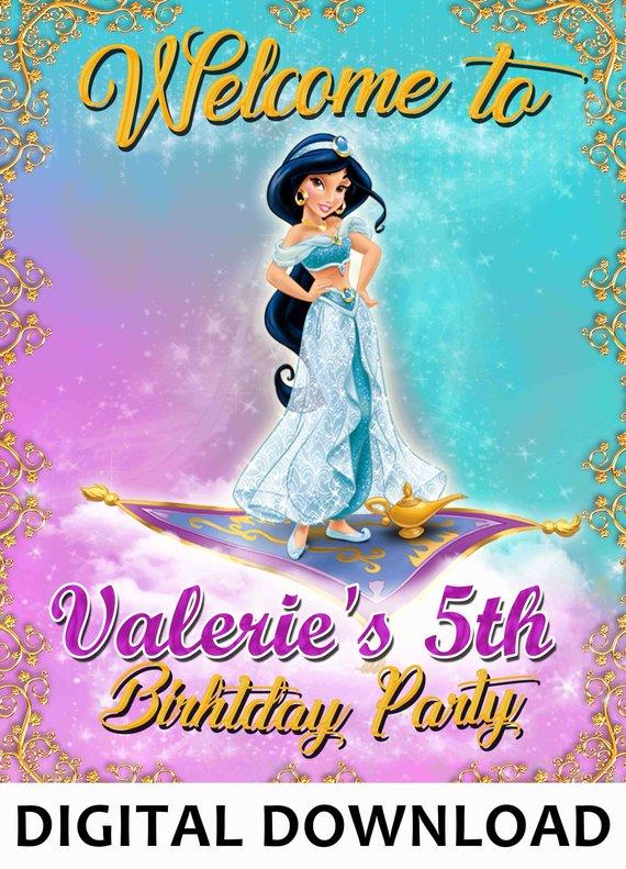 Princess Jasmine Welcome To My Birthday Personalized Birthday Banner