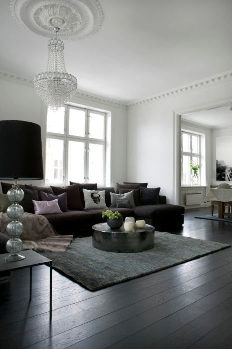 Black And White Living Room With Chandelier And Dark Wood Floors. Love The  Feel Of This Space. Part 66