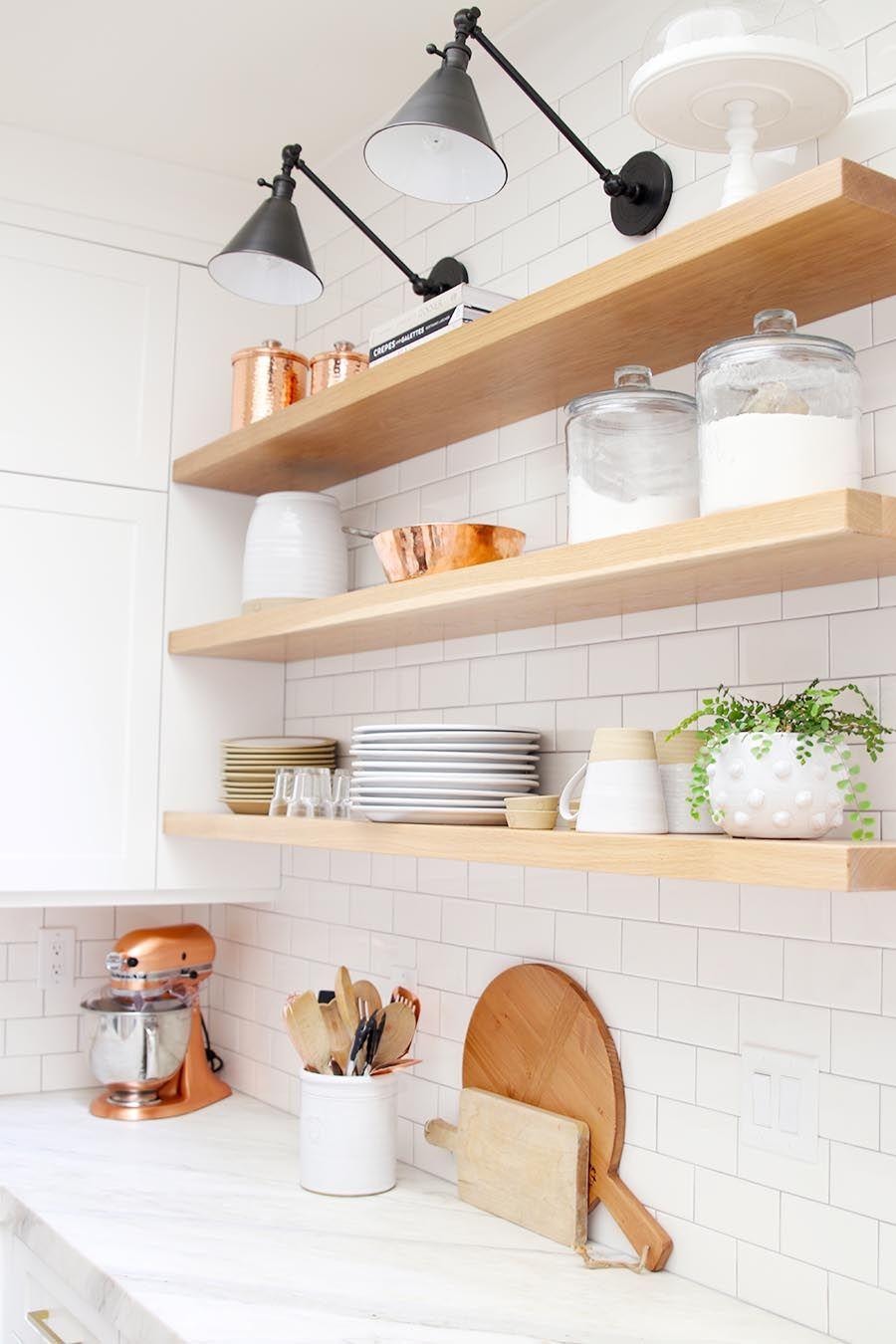 modern farmhouse kitchen reveal floating shelves kitchen white oak kitchen kitchen shelves on farmhouse kitchen open shelves id=97411