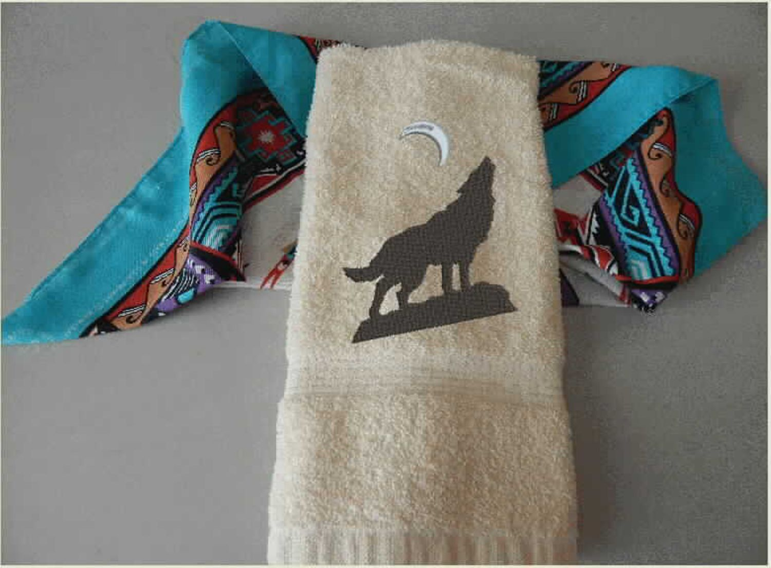 Wolf Hand Towel Embroidered Wolf Southwest Wedding Shower Gift For The New Couple Cowboy Theme Birthday Present Western Decor Wedding Shower Gift Western Decor Southwest Wedding