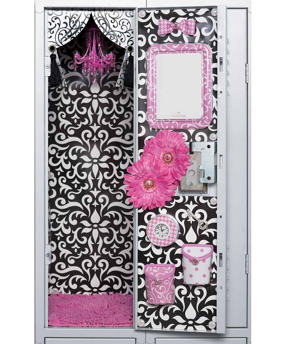 Lockerlookz pink chandelier family gifts pinterest lockers in this product photo provided by lockerlookz a chandelier rug and organizational products are shown inside a school locker arubaitofo Image collections