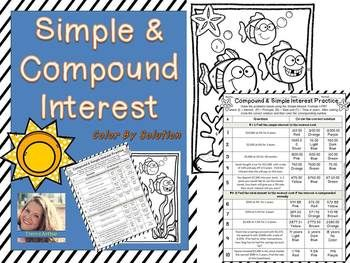 Simple Compound Interest Color By Solution Teaching Blogs Math Centers Middle School Digital Activities