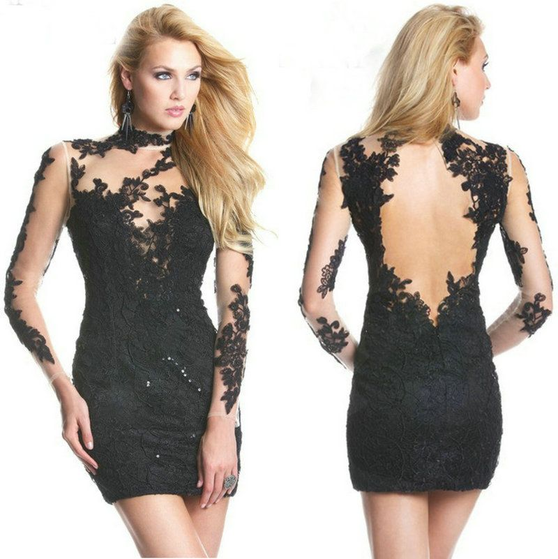 black lace and tulle high neck backless short prom dress