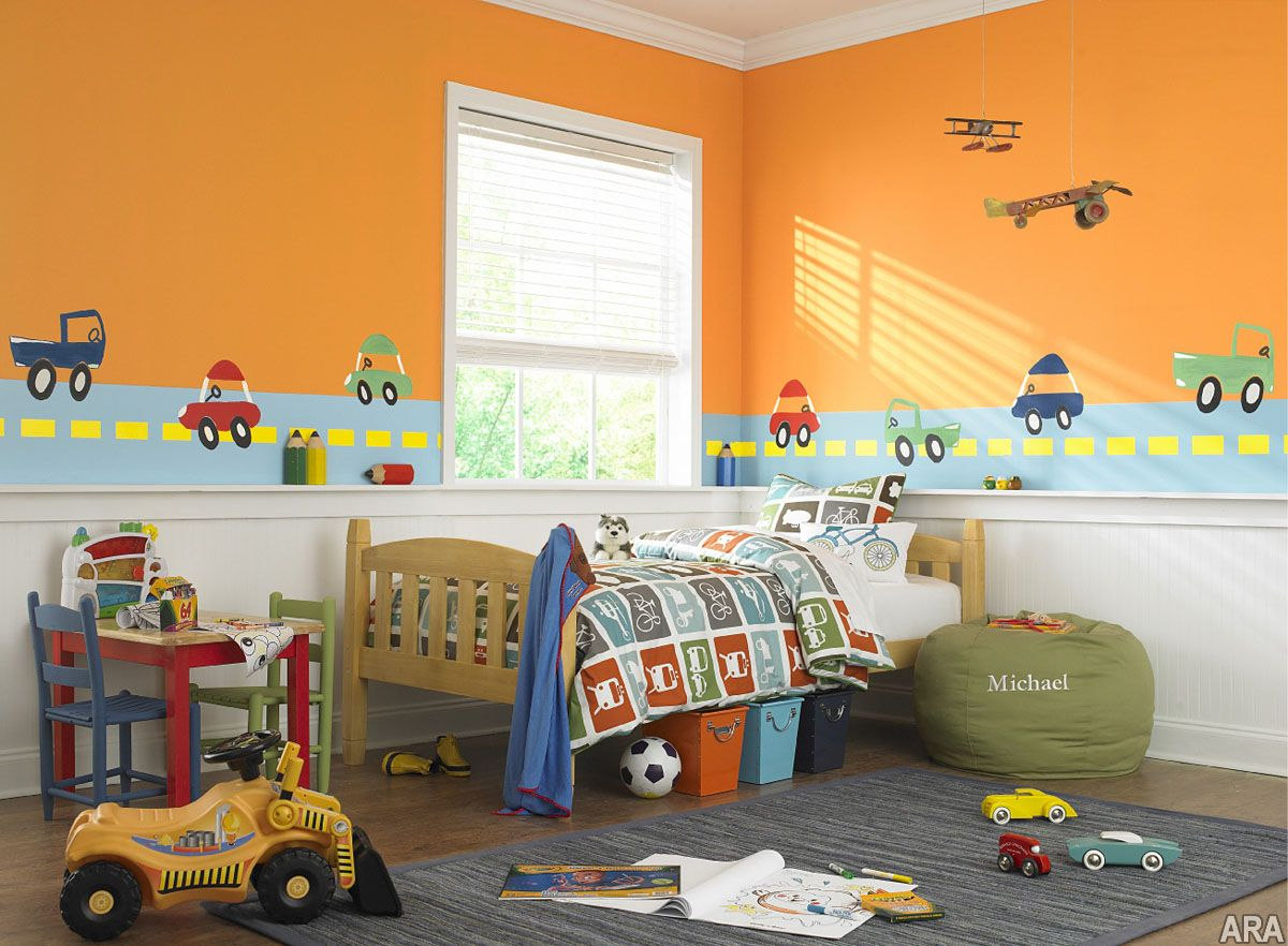 Warm Orange And White Themed Kids Room Paint Ideas With Beautiful Car Wall  Drawing Painting On The Blue Streets Also Simple Corner Space Wood Bed  Frame On ...
