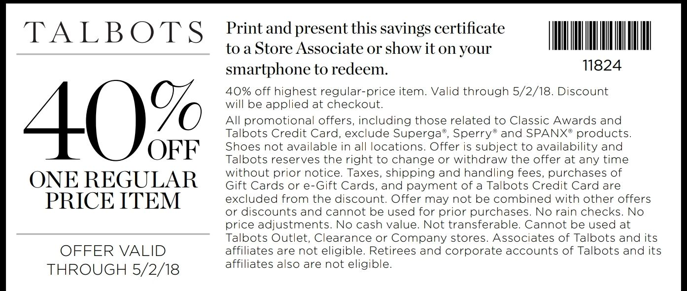 photo regarding Talbots Printable Coupon identify Talbots Coupon: 40% Off 1 Month to month Priced Product or service Printable