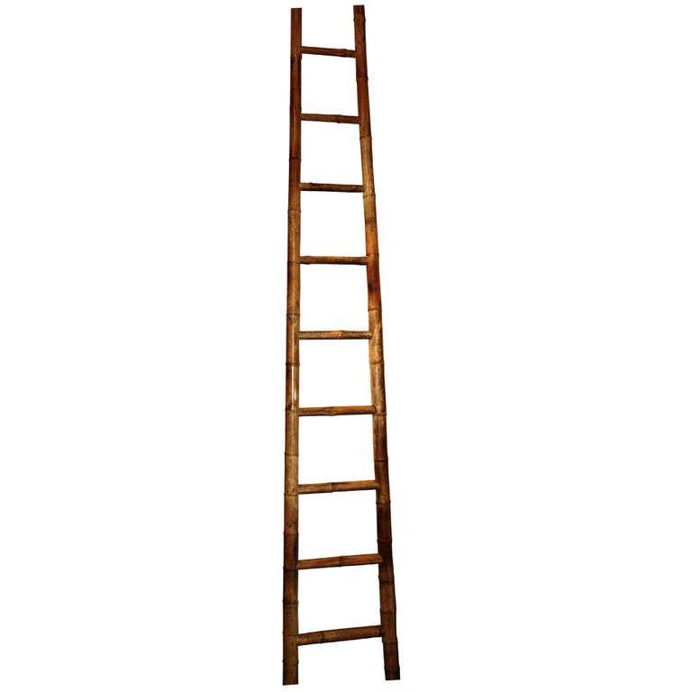 Tall 19th Century Chinese Bamboo Ladder 1stdibs Com Bamboo Ladders Chinese Bamboo Antique Bamboo