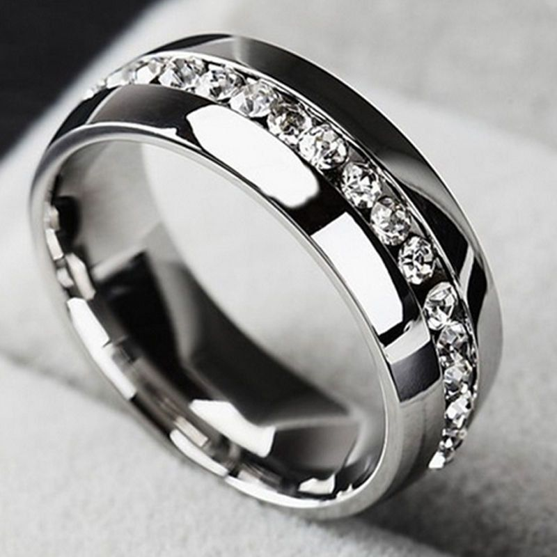 Stainless Steel And Titanium Crystal Man Or Woman S Band Ring Sizes 7 10 11 Please Spe Stainless Steel Wedding Ring Steel Wedding Ring Titanium Wedding Rings