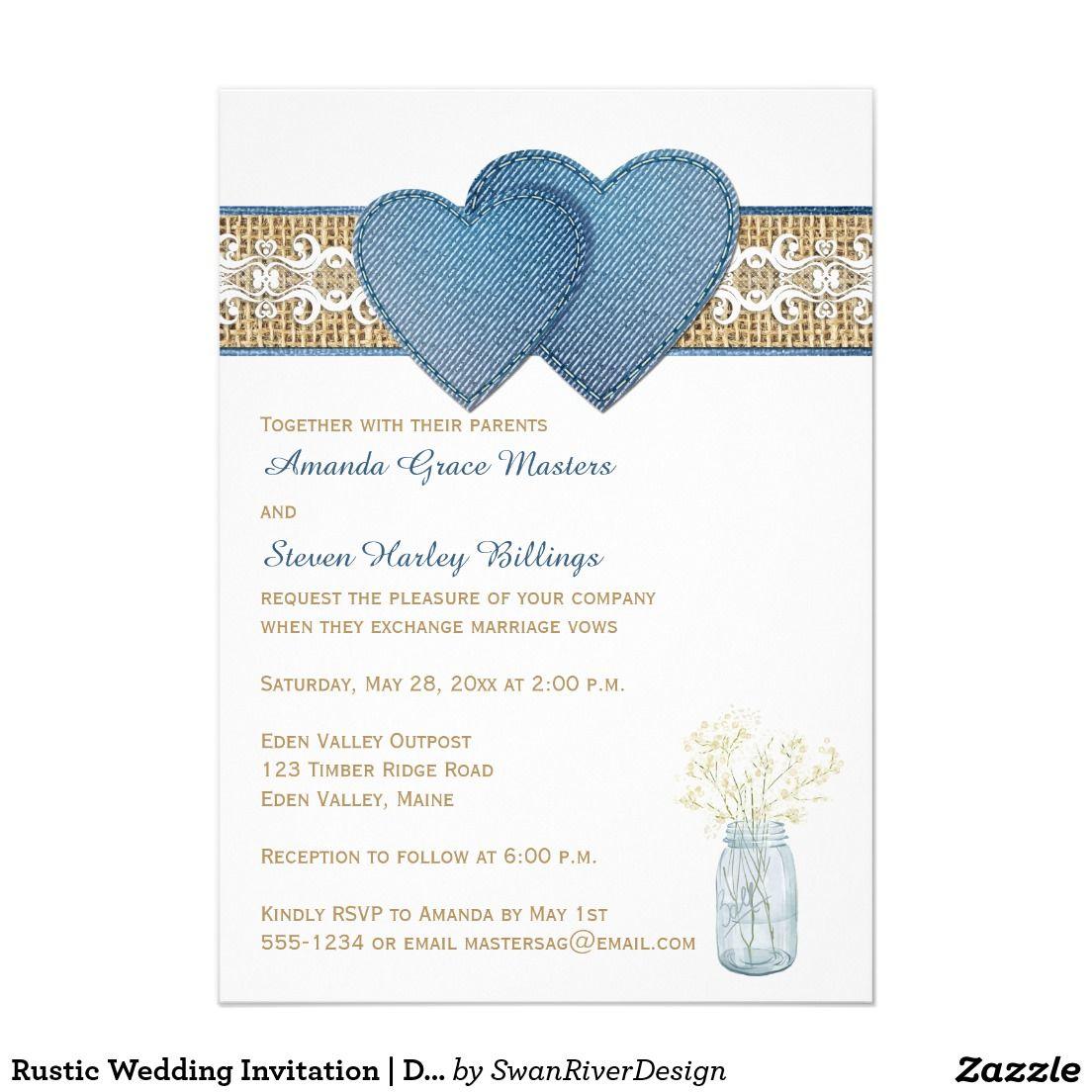 Rustic Wedding Invitation   Denim, Lace, Burlap   Country wedding ...