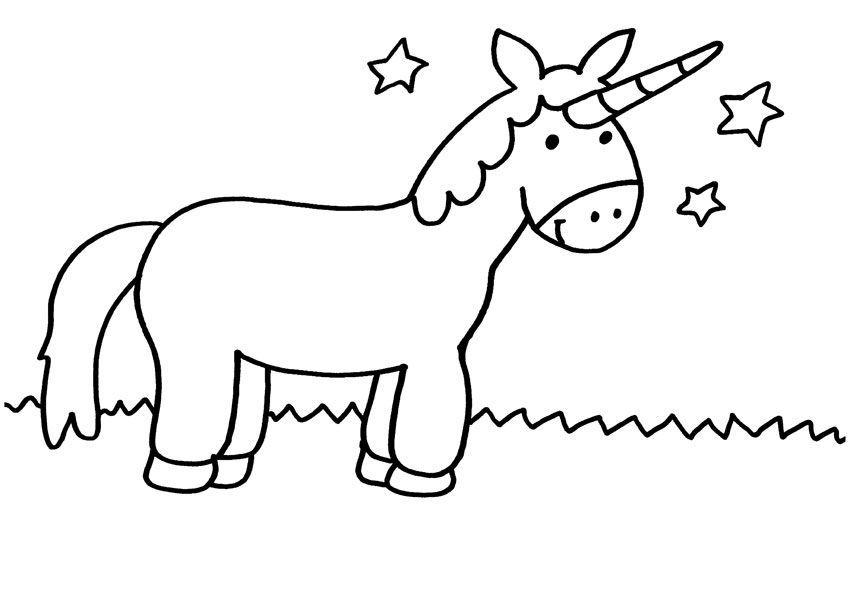 Unicornio Bajo Las Estrellas Dibujo Para Colorear E Imprimir