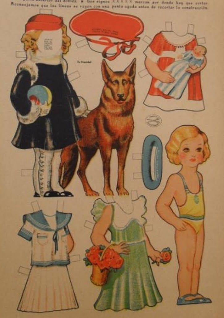 Vintage Paper Doll with dog
