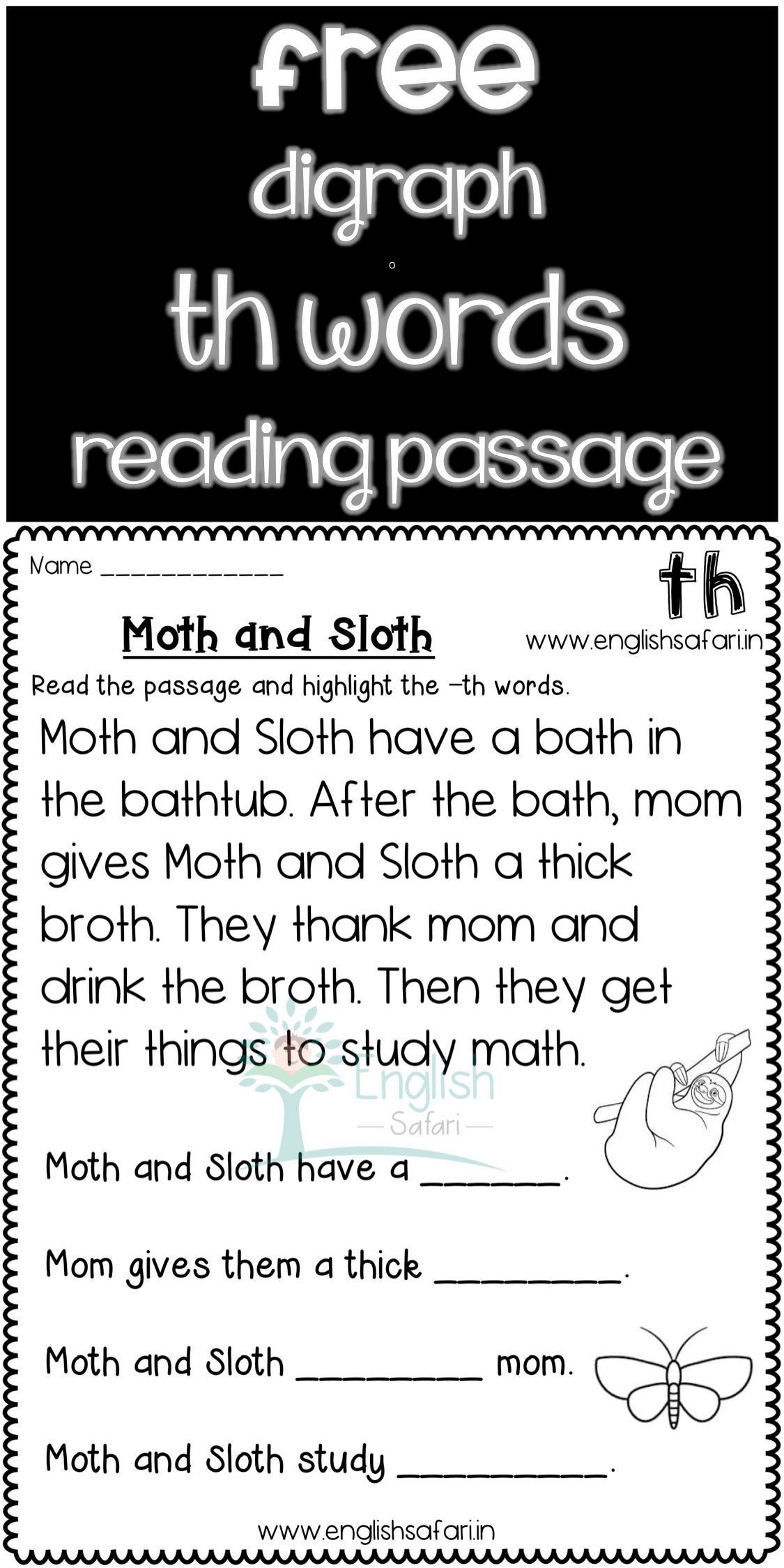 Free Th Words Reading Comprehension Www Worksheetsenglish Com Reading Comprehension Passages Free Phonics Reading Passages Fluency Passages [ 2249 x 1125 Pixel ]