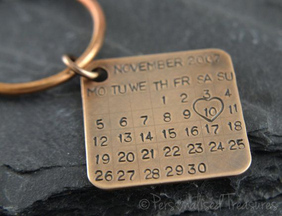 11th Wedding Anniversary Gift Ideas For Men: Personalized Key Chain/ Date Tag/ Calendar Charm. Made