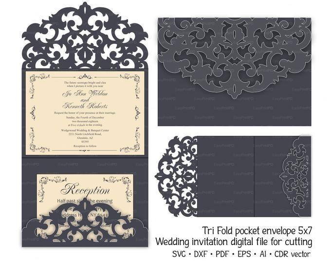 Set Invitation wedding Card 5×7 folds Peony flower, RSWP template (svg, dxf, cdr, studio V3) laser cut Digital Instant Download Cricut Cameo