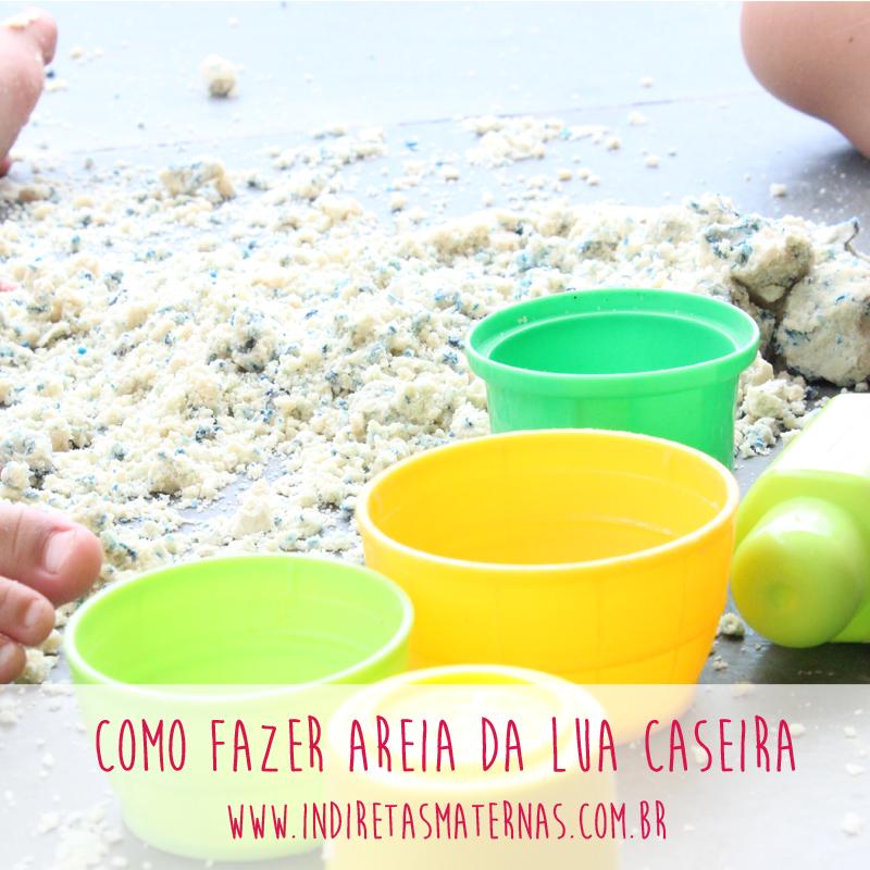 Aprenda a fazer areia da lua caseira! Lá no blog http://www.indiretasmaternas.com.br/nosso-maternar/infancia/como-fazer-areia-da-lua-caseira/
