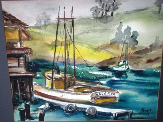 Vintage 1970 S Watercolor Shrimp Boat Painting Boat Ship