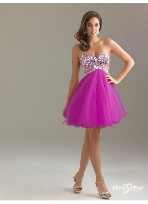 short sweetheart tulle prom dresses