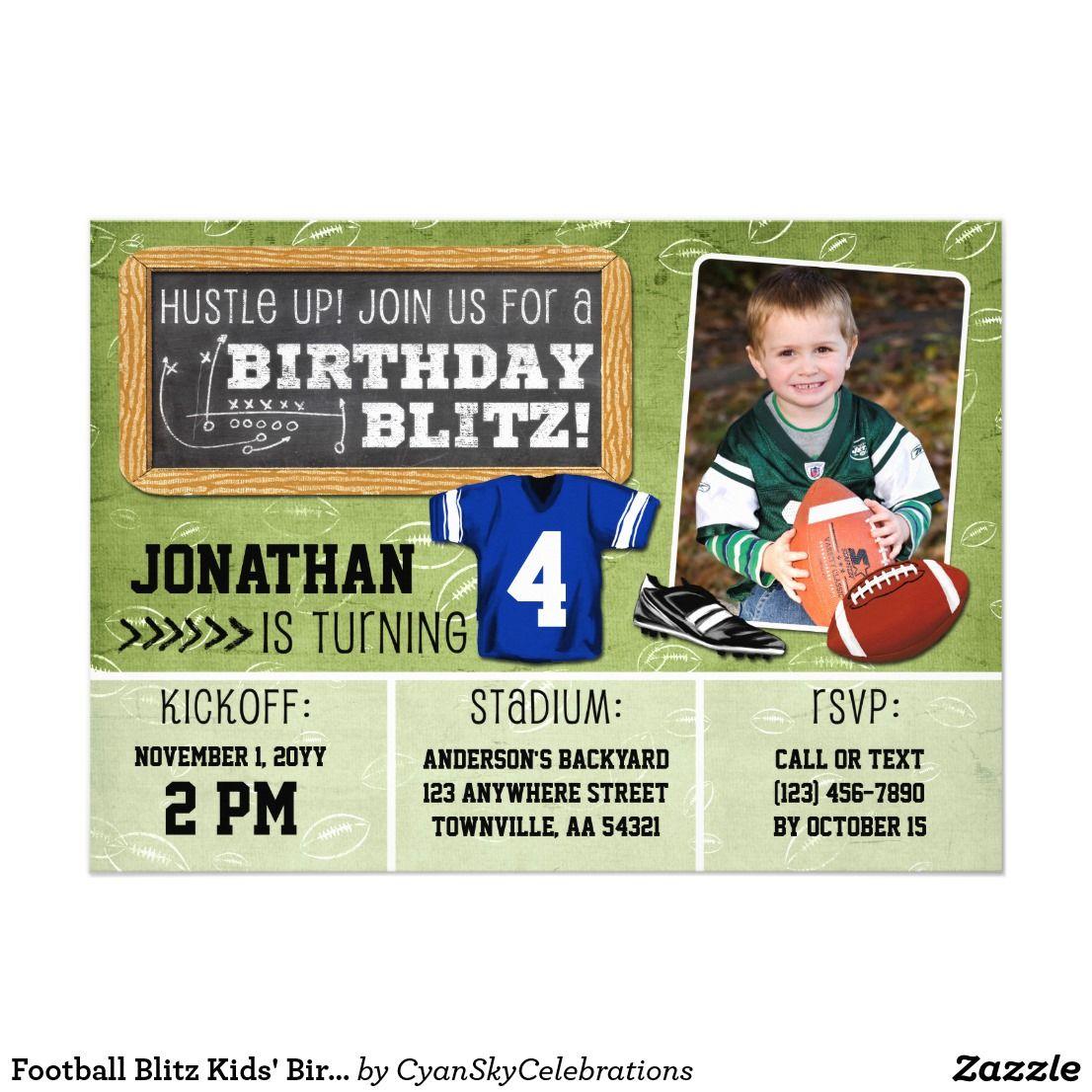 Football Blitz Kids\' Birthday Party Invitation | Kids birthday party ...