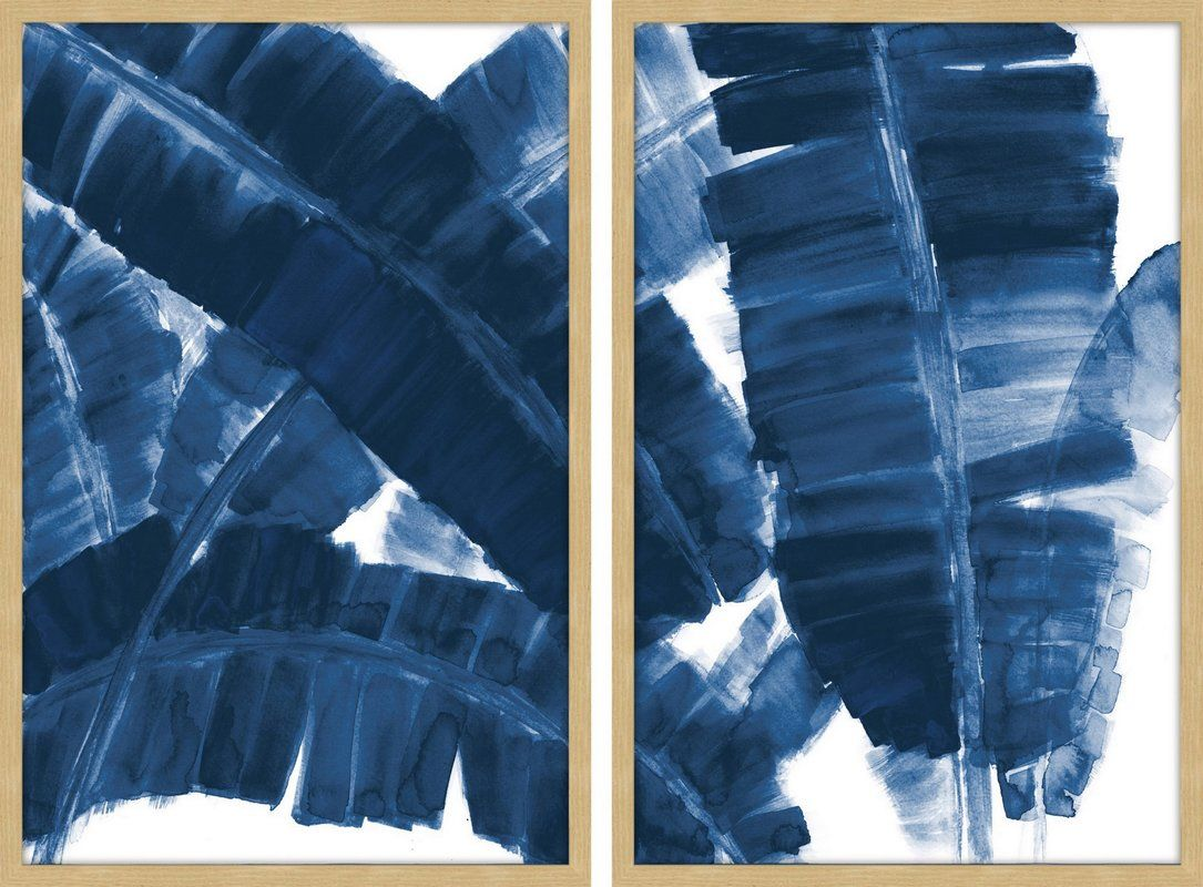 Blue Banana Leaves Diptych Watercolor Painting Print Multi Piece
