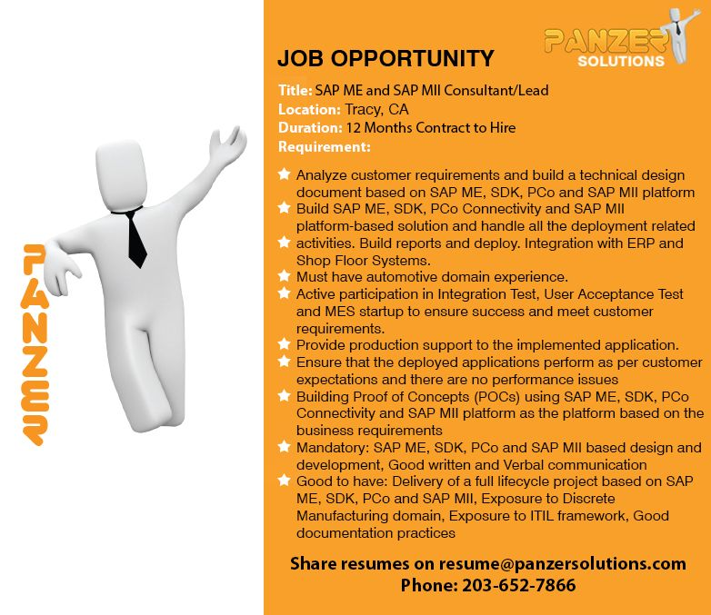 SAP ME and SAP MII Consultant/Lead in 2020 Job