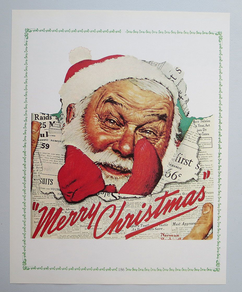 Vintage Norman Rockwell Christmas Print - Santa in the News ...