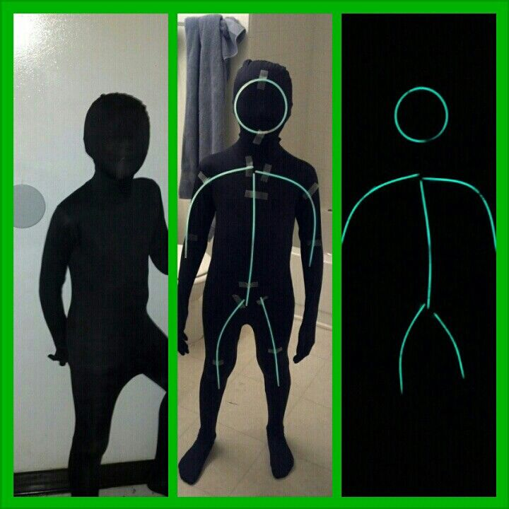 cool halloween costume black morph suit and glow in the dark stickman - Morphsuits Halloween Costumes