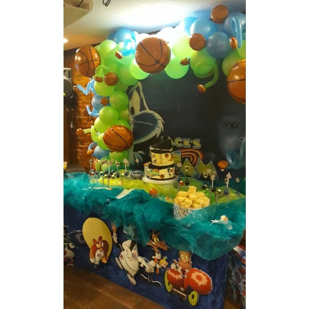 Celebrating A Birthday With Space Jams Balloon And Table