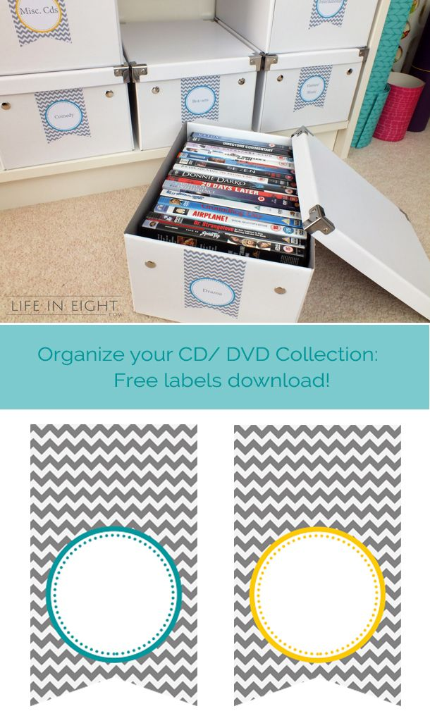 organize your cd dvd collection free labels download from the clean and. Black Bedroom Furniture Sets. Home Design Ideas