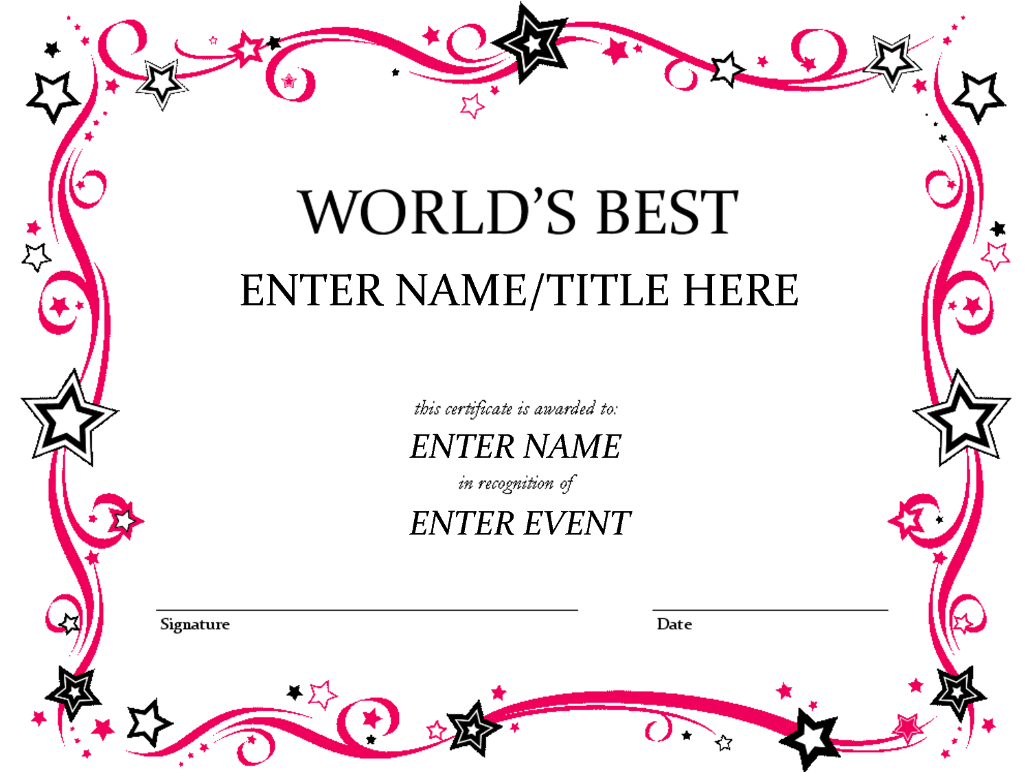 Free funny award certificates templates worlds best for Free printable certificate templates